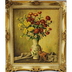 American School, 20th Century      Floral Still Life with Deer Figurine.