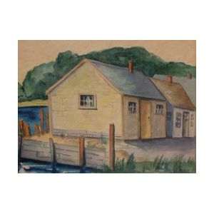 American School, 20th Century  Lot of Two Watercolors Goulds Oyster House, So. Chatham, MA