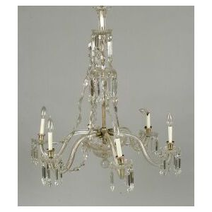 Classical Revival Colorless Glass Six Light Chandelier