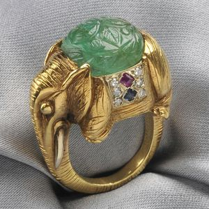 18kt Gold, Carved Emerald, and Gem-set Elephant Ring, Cartier