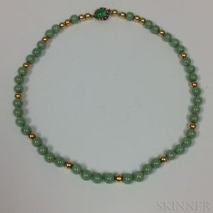 14kt Gold and Jadeite Bead Necklace