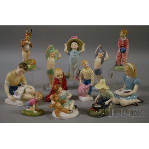 Twelve Royal Doulton Porcelain Figures and Figural Groups of Children