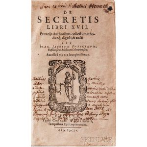Wecker, Johannes Jacob (1528-1586) De Secretis Libri XVII.