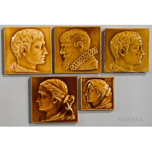 Five Newburgh Tile Works Art Pottery Tiles