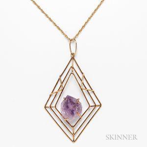 14kt Gold and Amethyst Geometric Pendant