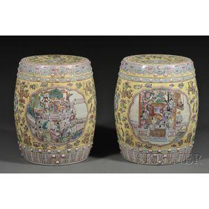 Pair of Famille Jeune Decorated Porcelain Garden Seats