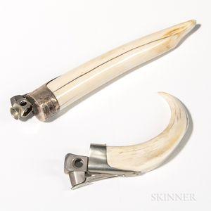 Two Metal-mounted Tusk Cigar Notchers