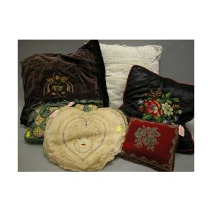 Six Assorted Embroidered and Decorated Pillows.
