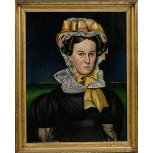 Milton W. Hopkins (American, 1789-1844)      Portrait of a Woman Wearing a Fancy Yellow-Ribboned Lace Bonnet.