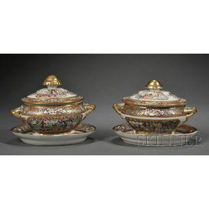 Pair of Rose Mandarin Decorated Porcelain Sauce Tureens and Stands