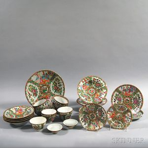 Group of Chinese Export Rose Medallion Pattern Porcelain
