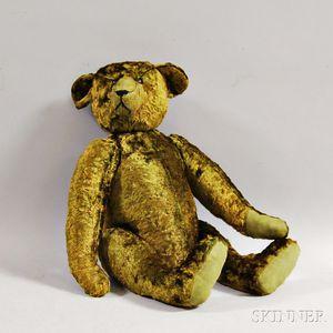 Early Articulated Green Mohair Teddy Bear