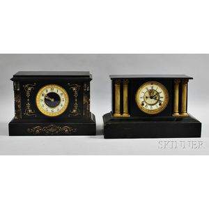 Two Belgian Black Slate Mantel Clocks