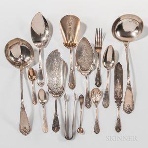 """Group of W.K. Vanderslice """"Gargoyle"""" Pattern Silver Flatware"""