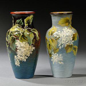 Two Doulton Lambeth Kate Rogers Decorated Impasto Vases