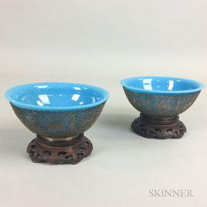 Pair of Light Blue Peking Glass Bowls