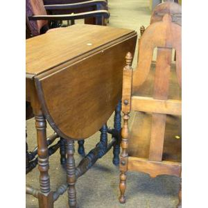 William and Mary Style Mahogany Drop-leaf Gate-leg Table and Birch Book Stand.
