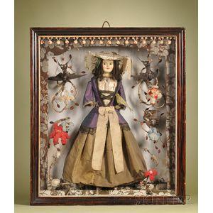 Large English Wax Doll in Presentation Shadow Box Case