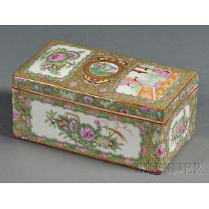 Rose Medallion Decorated Porcelain Brush Box and Cover