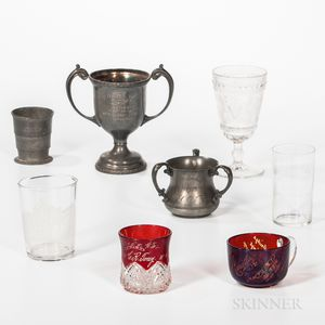 Three Pewter and Five Glass Odd Fellows Items