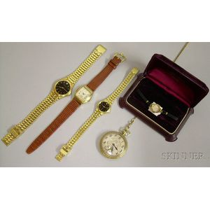 Four Wristwatches and a Bulova Gold-filled 17-jewel Open Face Pocket Watch
