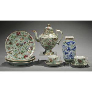 Seven Celadon Glazed Porcelain Items