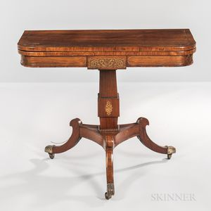 William IV Rosewood-veneered and Brass-inlaid Games Table