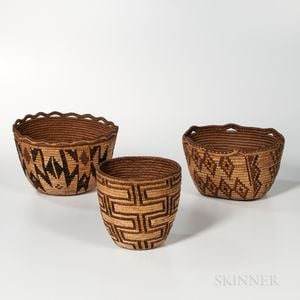 Three Northwest Coast Imbricated Baskets