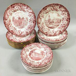 Thirty-six Wedgwood Ceramic Harvard Plates