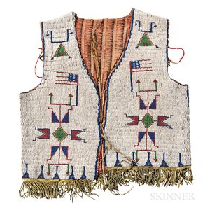 Plains Beaded Hide and Cloth Pictorial Vest