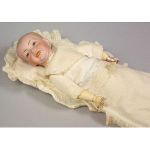 SFBJ 226 Bisque Head Character in Baby Bunting and Pillow