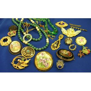 Small Group of Mid-Century Costume Jewelry and Beads.