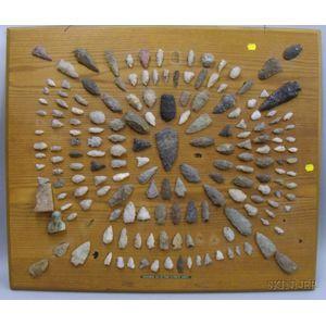 Northeast Native American Arrowheads on a Board.
