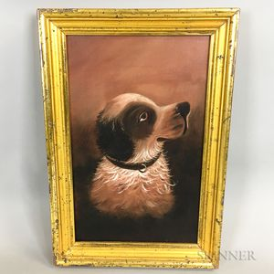 Framed Oil on Canvas Portrait of a Dog