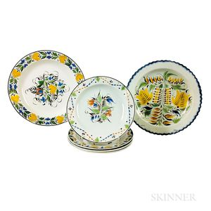 Six Staffordshire Polychrome Decorated Pearlware Plates