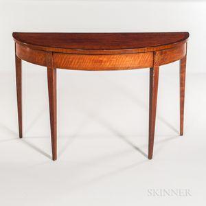 George III Mahogany Demilune Table