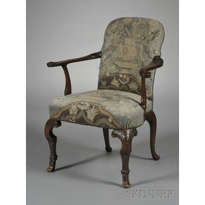 William & Mary-style Needlepoint-upholstered Walnut Open Armchair