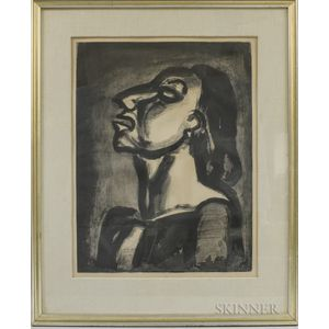Georges Rouault (French, 1871-1958)      Plate 19 from Miserere :  Son avocat, en phrases creuses, clame sa totale inconscience