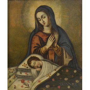 Spanish Colonial School, 19th Century      Madonna Adoring the Sleeping Christ Child