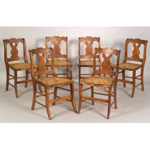 Set of Six Tiger and Bird's-eye Maple Side Chairs