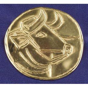 Artist-Designed 23kt Gold Pendant, Pablo Picasso