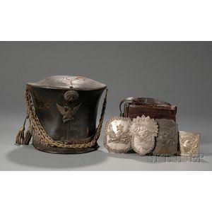 American Militia Leather Shako, Three Militia Cap Plates, Leather Belt, and   Belt Plate