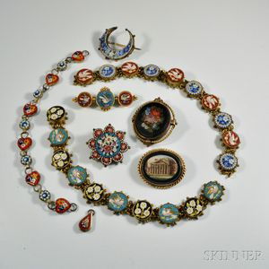 Group of Antique Micromosaic Jewelry