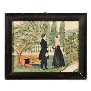 Watercolor of a Courting Couple