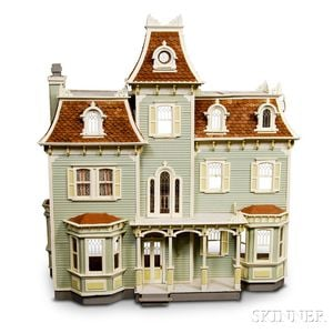 Large Victorian Painted Two-story Dollhouse.     Estimate $200-300