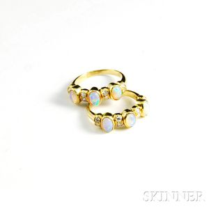 Pair of 18kt Gold, Opal, and Diamond Rings