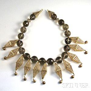 14kt Gold and Carved Quartz Necklace