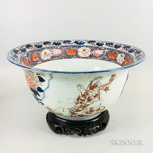 Large Chinese Imari Porcelain Punch Bowl