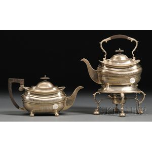 Edward VII Silver Hot Water Kettle on Stand and Matching Teapot