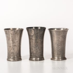 Three Early Dutch Commemorative Beakers